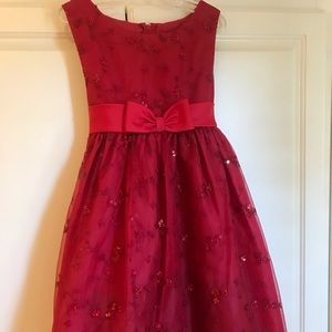 Red holiday dress with bows and sequins Size 6